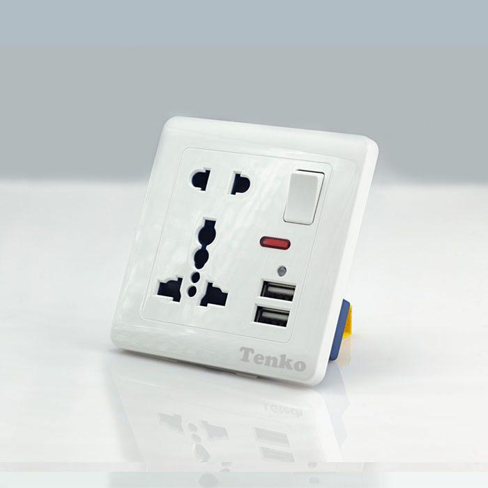 Ổ Cắm Điện Tích Hợp 2 Cổng USB Và Công Tắc TK-2U2P