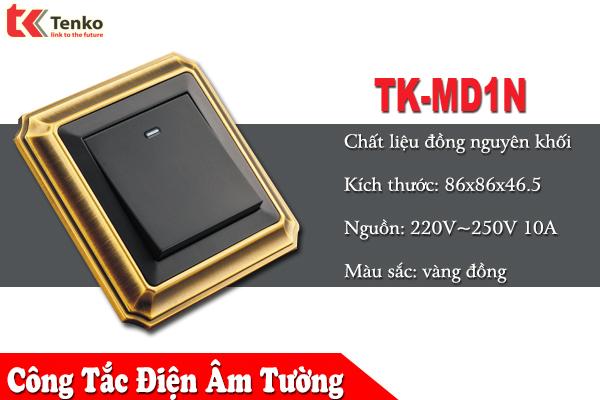 Công tắc Điện Âm Tường Viền đồng   TK-MD1N