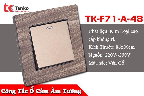 Công Tắc-Ổ Cắm Âm Tường Kim Loại Vân Gỗ TK-F71A