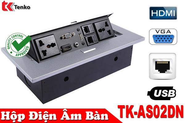 Hộp Ổ Cắm Điện Âm Bàn HDMI/VGA/RJ45 TK-AS02DN Bạc